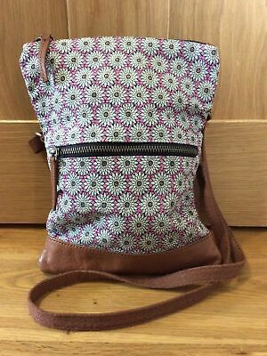 £11 • Buy FATFACE Ladies Small Hippie Floral Tan Leather Trim/Strap Cross Body Bag