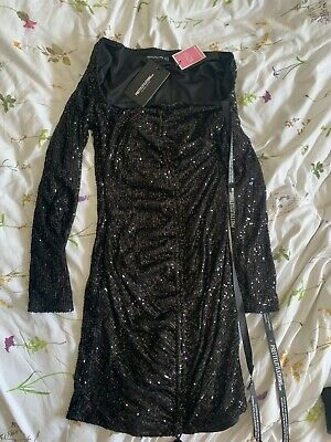 £3.99 • Buy Pretty Little Thing BRAND NEW Black Sequin Dress Square Neck Long Sleeve Size 8