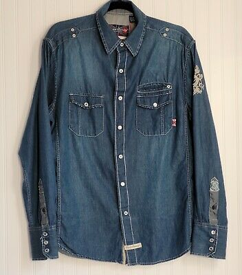 $18 • Buy English Laundry/People's Army Men's Button Down Denim Shirt Size M Pre-Owned