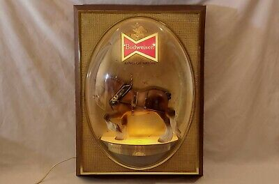 $ CDN62.68 • Buy Vintage Budweiser Beer Famous Clydesdale Horse Bubble Dome Lighted Bar Sign