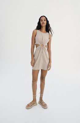 $35 • Buy Zara Linen Cut Out Dress, Size Small, New With Tags