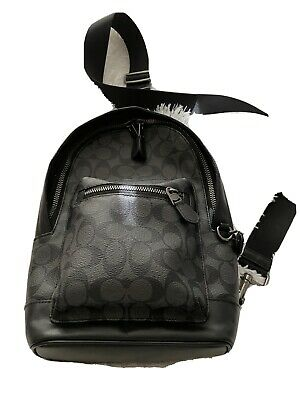 $170 • Buy Coach Men's Sling Backpack - Black. New And Never Used. Coach Signature Pattern