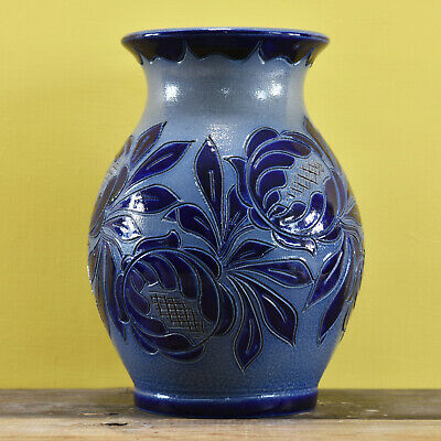 £20 • Buy A Vintage French Fortune Schmitter Betschdorf Vase Featuring A Blue Tone Design