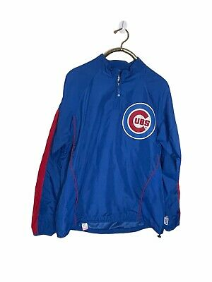 $31.49 • Buy Chicago Cubs Majestic Cool Base 1/4 Zip Pullover Windbreaker Size Large