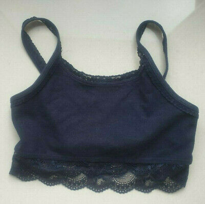 £0.99 • Buy Abercrombie Kids Girls Cropped Top Dark Blue With Lace Detail Age 11 / 12 EX CON