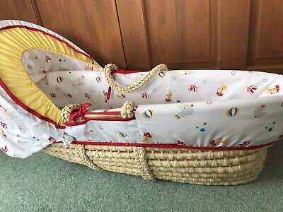 £15 • Buy Mothercare Little Circus Moses Basket With Wooden Rocking Stand Sheets Blankets