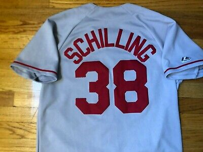 $38.38 • Buy Vtg Stitched Majestic CURT SCHILLING #38 Boston Red Sox Gray Jersey Mens M
