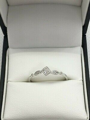AU99 • Buy Fine 9ct White Gold And Diamond Ring Size N/O