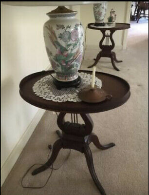 $149.99 • Buy One Antique Lyre Harp Victorian Mersman Style Mahogany End Accent Side Table