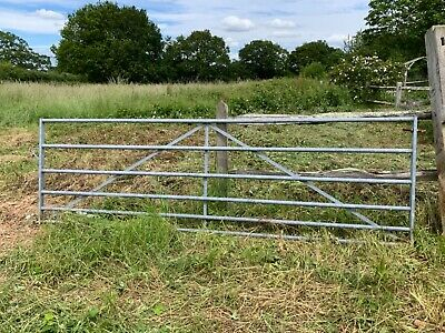 £15.30 • Buy Used Galvanised Farm Gate 3.6m X 1.2m With Wooden Gate Posts And Hinges
