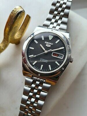 £35.99 • Buy Vintage BLACK 1997 SEIKO 5 Men's Automatic Day/Date Watch 7S26-0100