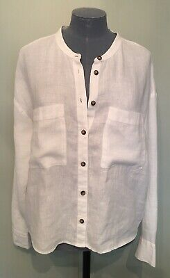 £3.50 • Buy M&S Collection Bright White Linen Top Size 12 Shirt Summer Holiday