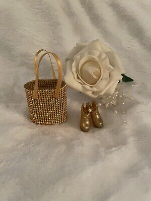 £8 • Buy Gold Crystal Handmade Barbie Shopping Bag & Gold Stud Ankle Boots