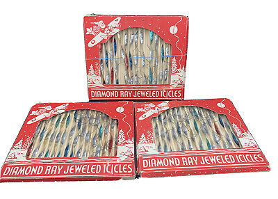 $ CDN37.60 • Buy Vintage Lot 3 Boxed Diamond Ray Jeweled Icicles Christmas Ornaments Mint In Box