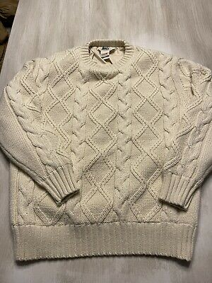 $0.99 • Buy MENS Ivory REI Gore Wool Blend Cable Knit Lined Sweater LARGE Vintage