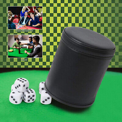 £5.49 • Buy Retro Dice Game Set Felt Lined Pu Leather Shaker Cup + 5 Dot Dice