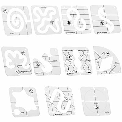 $43.04 • Buy 11 PCS Free-Motion Quilting Template Set Domestic Sewing Machine Transparent ...