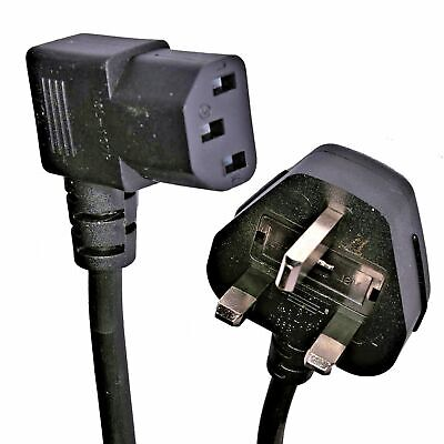 £5.45 • Buy 2 Metre Right Angle Kettle Lead Cable Power UK Plug Cord IEC C13 3 Pin