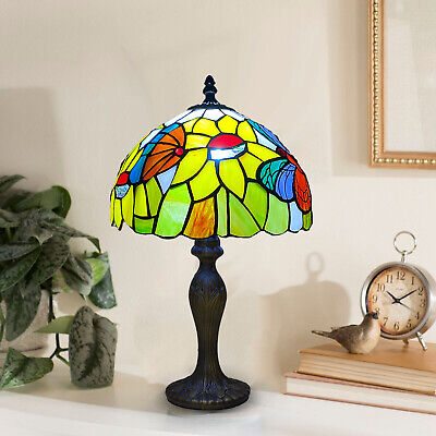 £68 • Buy Tiffany 10 Inch Table Lamp Butterfly Style  Stained Glass Handcrafted Multicolor