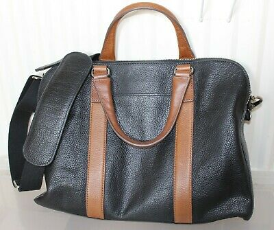 £25 • Buy FOSSIL Leather Laptop Bag/ Briefcase, Black And Tan