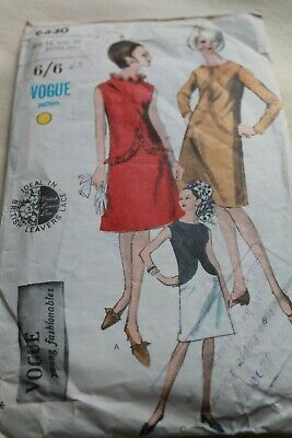 £4.50 • Buy Vintage Vogue Sewing Pattern 1960's Ladies Dress Semi Fitted A-Line Drop Waist