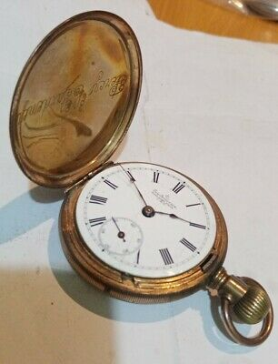 £4 • Buy 99p No Reserve ANTIQUE Full Hunter Gold Plated POCKET WATCH PAN AMERICA USA A/F