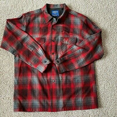 $37.77 • Buy Pendelton Mens Virgin Wool Button Up Shirt Red Plaid Size L Large Long Sleeve