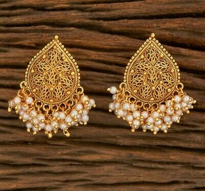 £9.99 • Buy New Indian Earrings Studs Antique Gold Plated Jewellery Earrings Bollywood Pearl