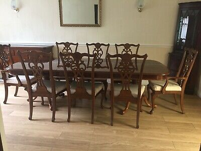 £200 • Buy Chippendale Queen Anne Dinning Table And Eight Chairs Plus Matching Sideboard