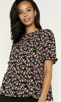 £6 • Buy Oasis Ditsy Floral Rose Print Tiered Top UK M BNWT