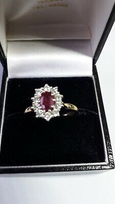 £999 • Buy Ruby And Diamond Cluster Ring