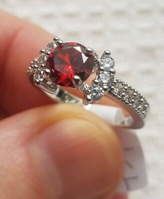 £6.48 • Buy Womans Size L. Red Ruby & White Topaz 925 Silver Ring