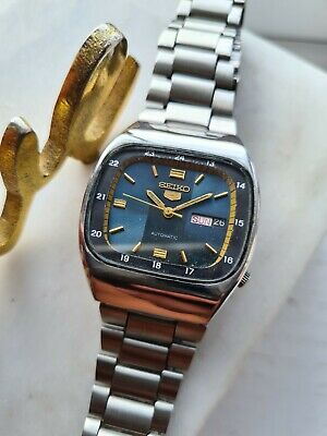 £39.99 • Buy Vintage BLUE 1981 Mens Seiko 5 Automatic Watch 6309-549A