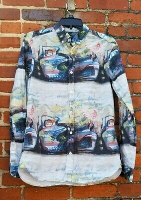 $199.99 • Buy Burberry London Button-Up Patterned Shirt Abstract Art Blue Colorful Size S
