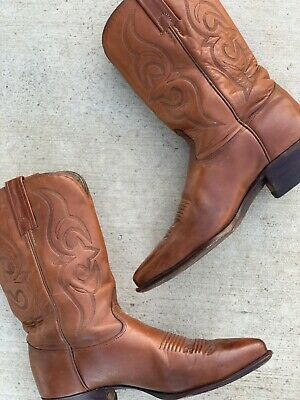 $164.99 • Buy Women's Vintage Made In USA Cognac Leather Cowboy Boots Sz 7.5 To Narrow 8