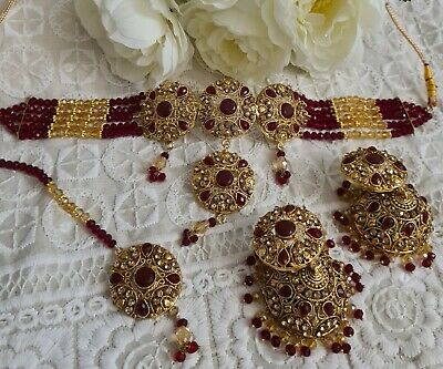 £18.99 • Buy Indian Jewellery Bollywood Traditional Kundan Choker Bridal Set Gold Plated Red