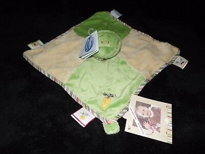 £18.45 • Buy Noukies Aldo Frog Comforter Soft Toy Green Yellow Blankie Doudou With Tags