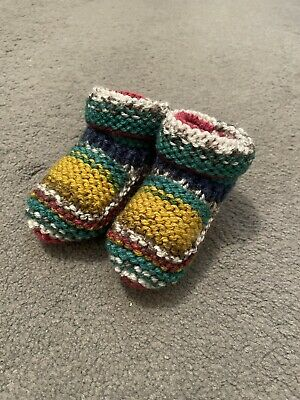 £3 • Buy New - Hand Knitted Baby Bootees - Mixed Multi - Newborn -