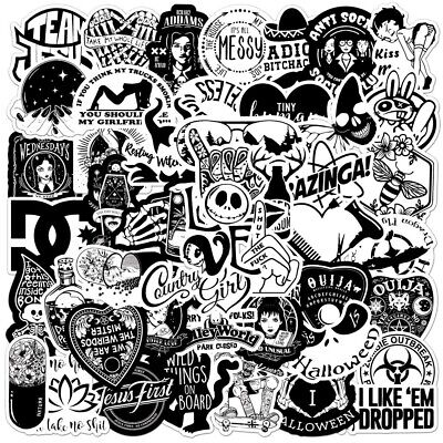 £4.88 • Buy 50 Black And White Rock Stickers Metal Punk Bands Guitar Music Wall Decals NEW