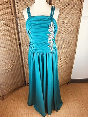 £24.99 • Buy Vintage After Six By Ronald Joyce Jade Green Dress Size 14 Ruched 70s 80s