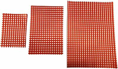 £3.49 • Buy RED Gingham Greaseproof Paper Burger Wrapping Tray Liner Food Wrap Chips Basket