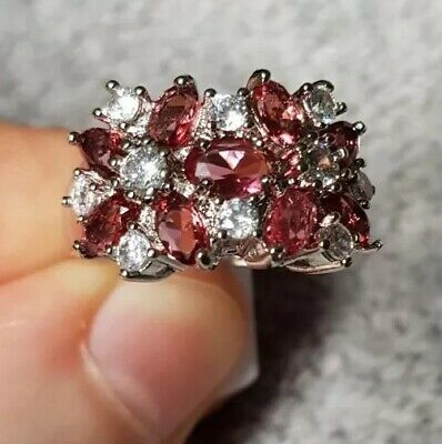 £5.98 • Buy Womans Size P. Ruby & White Topaz Cluster 925 Silver Ring