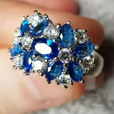 £5.99 • Buy Womans Size L. Sapphire & White Topaz Cluster 925 Silver Ring