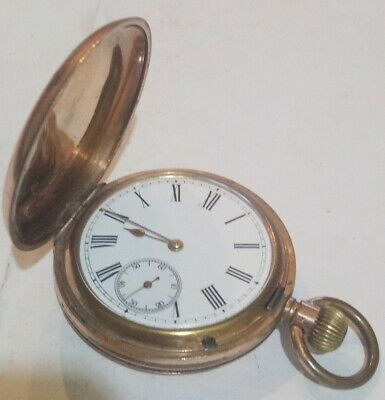 £0.99 • Buy 99p No Reserve ANTIQUE Full Hunter Rose Gold Plated POCKET WATCH Good Working