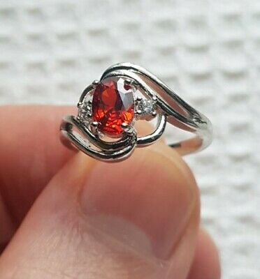 £3.94 • Buy Womans Size L 1/2. Red Ruby & White Topaz 925 Silver Cocktail Ring