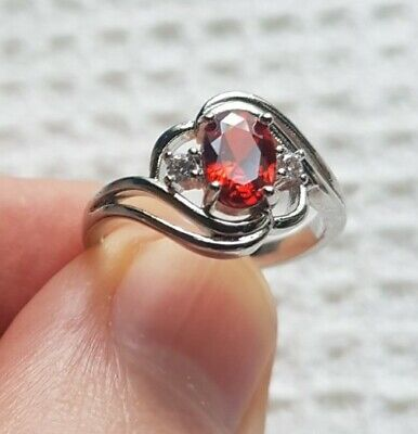 £3.92 • Buy Womans Size P 1/2. Red Ruby & White Topaz 925 Silver Cocktail Ring