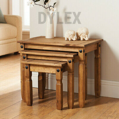 £68.99 • Buy Rustic Nest Of 3 Tables Solid Natural Wax Pine Living Room Furniture Lamp Table