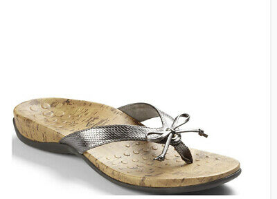 £23.81 • Buy Vionic Cassie Rock Orthaheel Pewter Bow Tie Thong Sandals Women Size 5 Silver