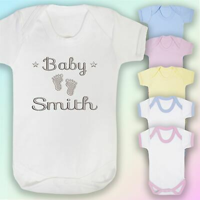 £6.95 • Buy Personalised Baby Name Feet Embroidered Baby Vest Gift Annoucement Newborn
