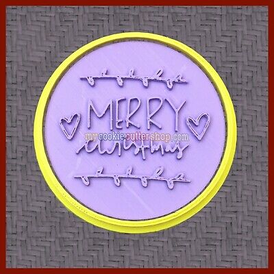 AU12.95 • Buy Merry Christmas Xmas Cookie Cutter & Imprint Stamp For Cookie Dough & Fondant
